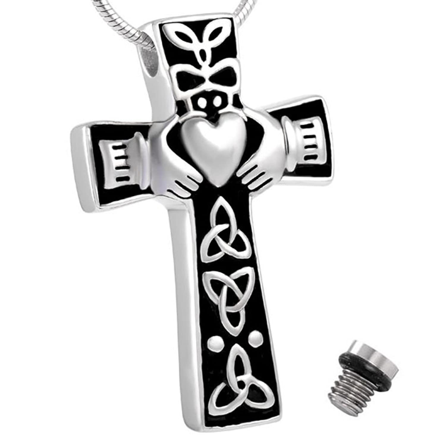 Celtic Cross Claddagh Urn Necklace for Ashes - Cremation Memorial Keepsake - Funnel Fill Kit Included