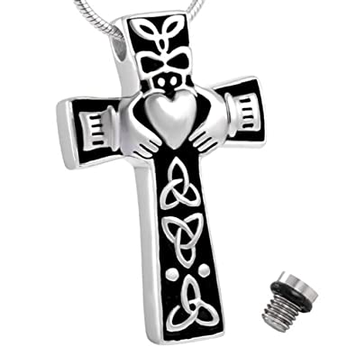 Celtic cross claddagh urn necklace for ashes cremation memorial celtic cross claddagh urn necklace for ashes cremation memorial keepsake funnel fill kit included solutioingenieria Choice Image