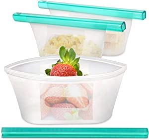 Fecihor 3 Packs Reusable Silicone Storage Bags, Waterproof Sealing Leakproof Food Snack Storage Bag for Sandwiches Fruit Lunch Soup Home Kitchen Refrigerator and Travel