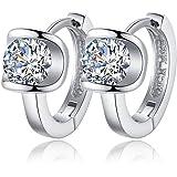 Tmrow Women 925 Sterling Silver Earrings Fashion Small Women Fine Jewelry Angel Kiss Luxury Crystal Earrings