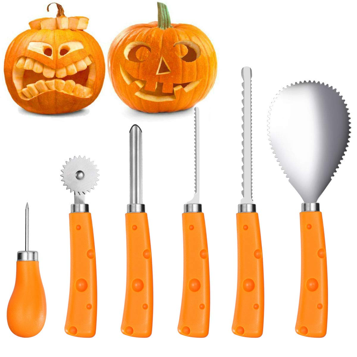 IBASETOY Pumpkin Carving Tools Kit 6 Pieces, Sturdy Stainless Steel Halloween Pumpkin Carving Set - Easily Carve for Family Pumpkin Decorations by Creative Jack-O-Lantern Carving by iBaseToy