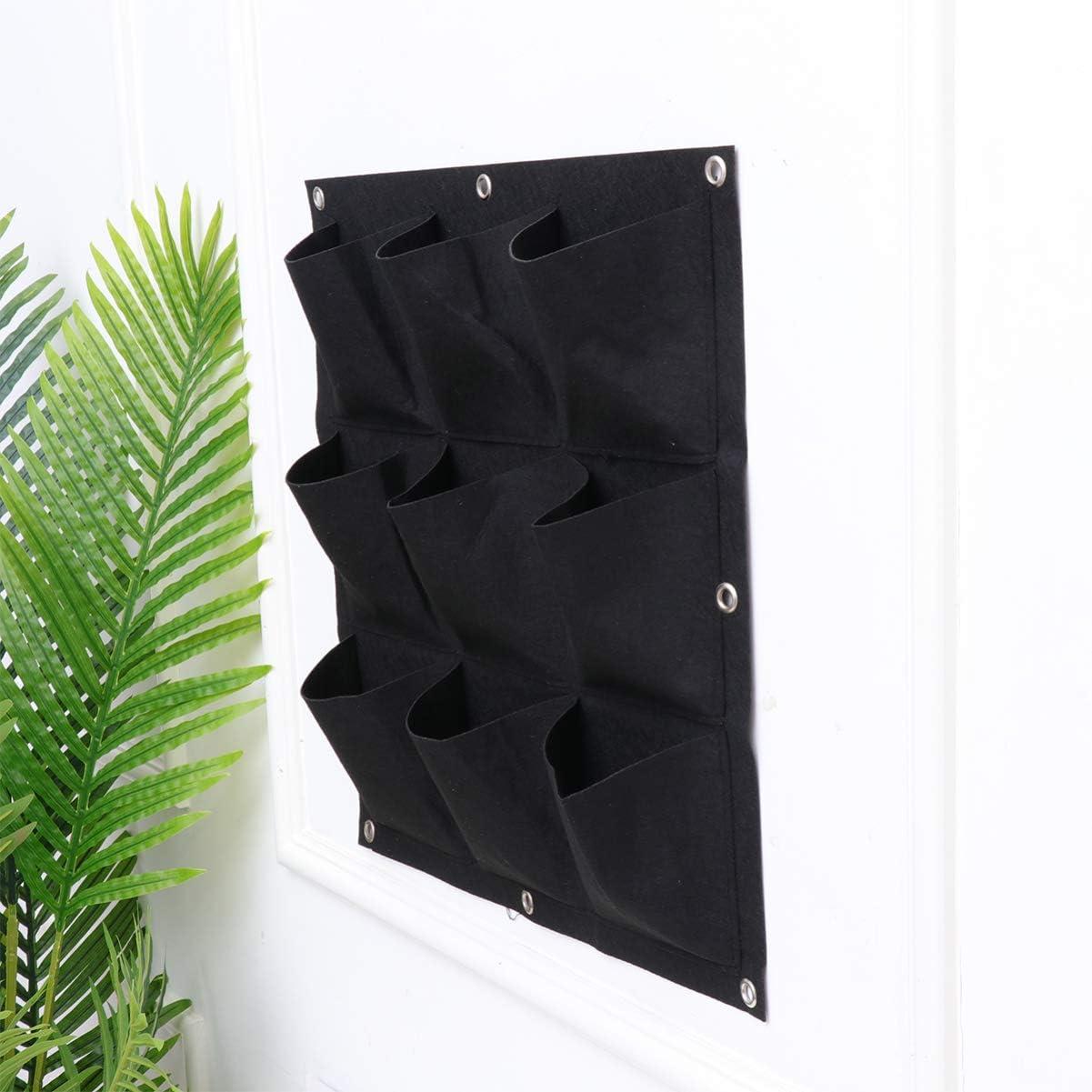 BESPORTBLE 9 Pocket Vertical Garden Planter Wall Mounted Planting Bags Hangers Outdoor Indoor Vertical Greening Grow Bags