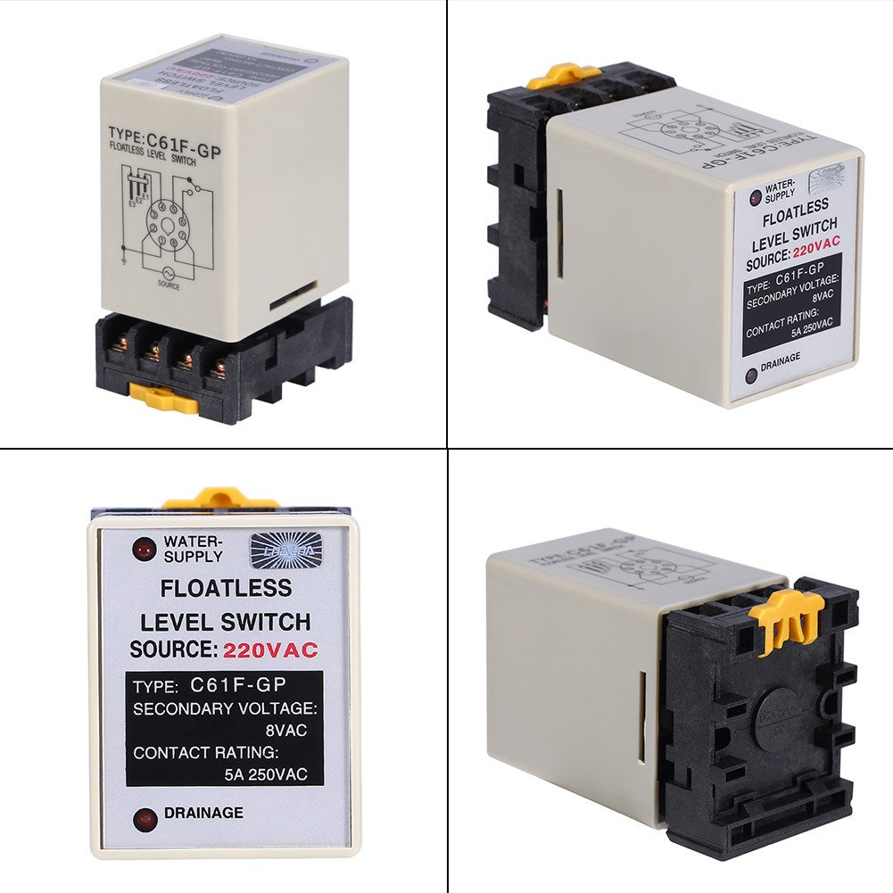 AC220V 50/60HZ Floatless Liquid Level Switch Water Level Control Relay With Base Socket C61F-GP - - Amazon.com