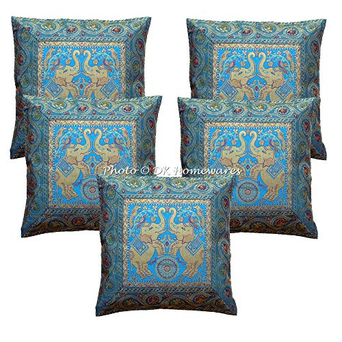 (DK Homewares Indian Traditional Decorative Sofa Throw Pillow Covers Turquoise 16x16 Couch Cushion Covers Brocade Jacquard Elephant Square Pillow Cases )