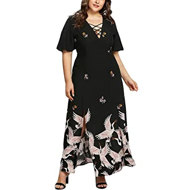 0d0b2b055f Amazon.com: Riverdalin Women Plus Size Long Dress Ladies Casual ...