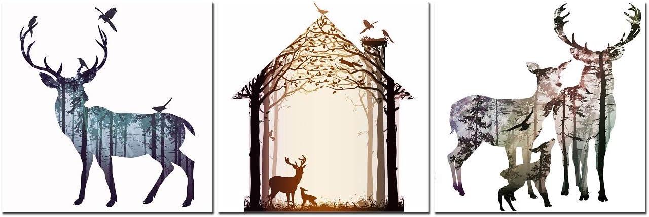 CUFUN Art - Cervus Davidianus Elk Silueta Cuadros Impresos en Lienzo Ciervos y pájaros Entrada Principal Decoración de Pared (30x30cmx3pcs)