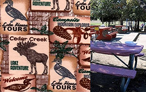Custom Stay Put Reusable Fabric Fitted Tablecloth for 6 Ft Picnic, Cabin, RV or Camping Bench 3 Piece Set, Table and 2 bench set. Cedar Creek Woodland Animals.