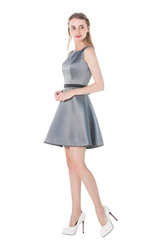 Pretty Sleeveless A Line Short Satin Fall Bridesmaid Dress With Ribbon