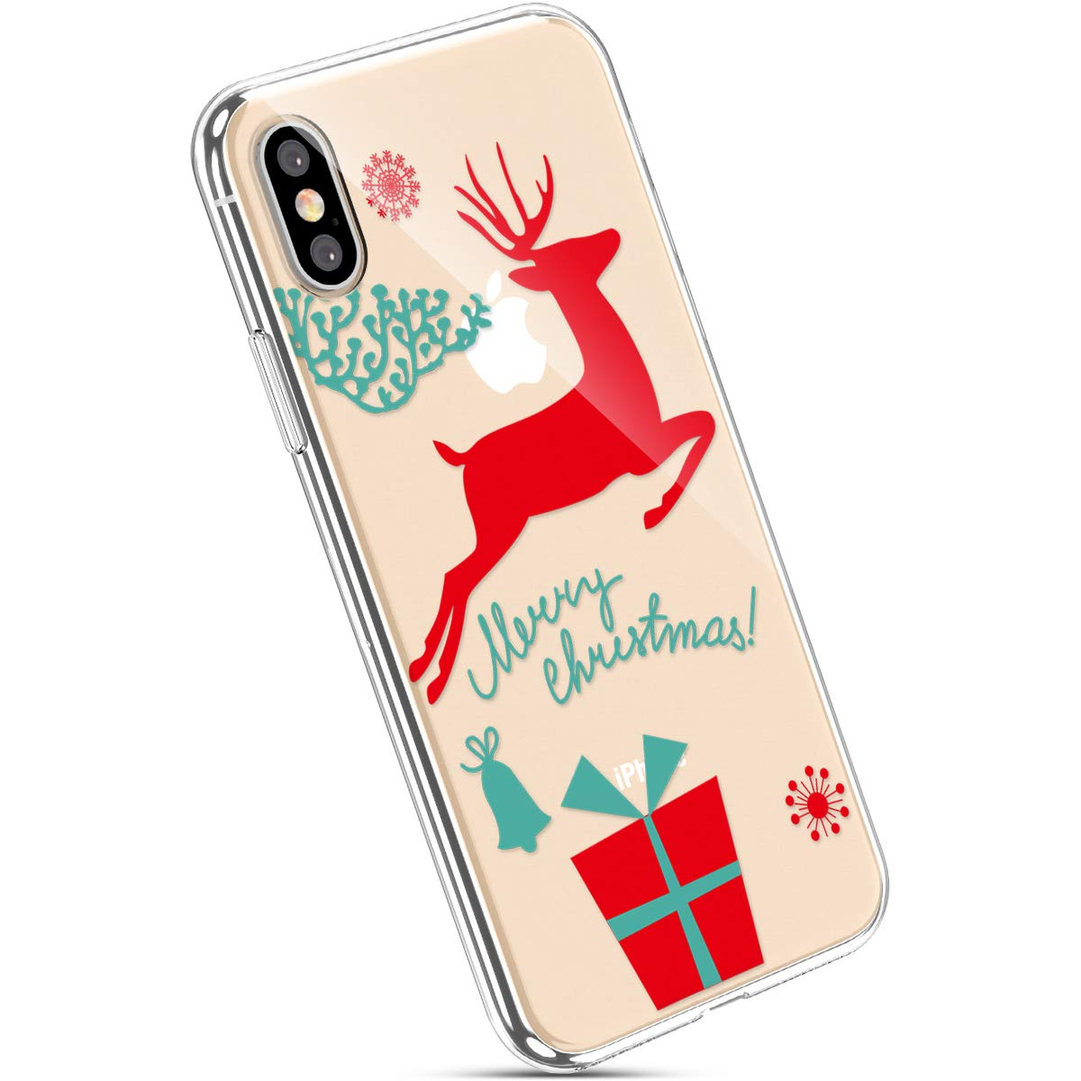 Ysimee Coque iPhone X Noë l, É tui Transparent avec Motif Christmas Housse de Protection en Silicone Souple Antichoc Ultra Mince et Lé ger Crystal Clear Gel Coque pour iPhone X,Motif#2