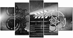 LevvArts Large 5 Piece Canvas Wall Art Classic Old Fashion Film Reels Poster Filmmaking Concept Scene Black and White Pictures for Bar Pub Home Movie Theater Media Room Decor Ready to Hang