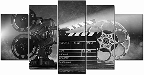 LevvArts Large 5 Piece Canvas Wall Art Classic Old Fashion Film Reels Poster Filmmaking Concept Scene Black and White Picture