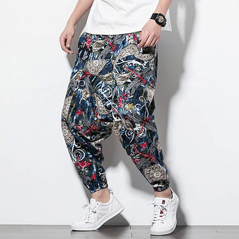 Jiaia Unisex Sweatpants Aladdin Pants in with Pocket Mens Harem Pants Print Trousers