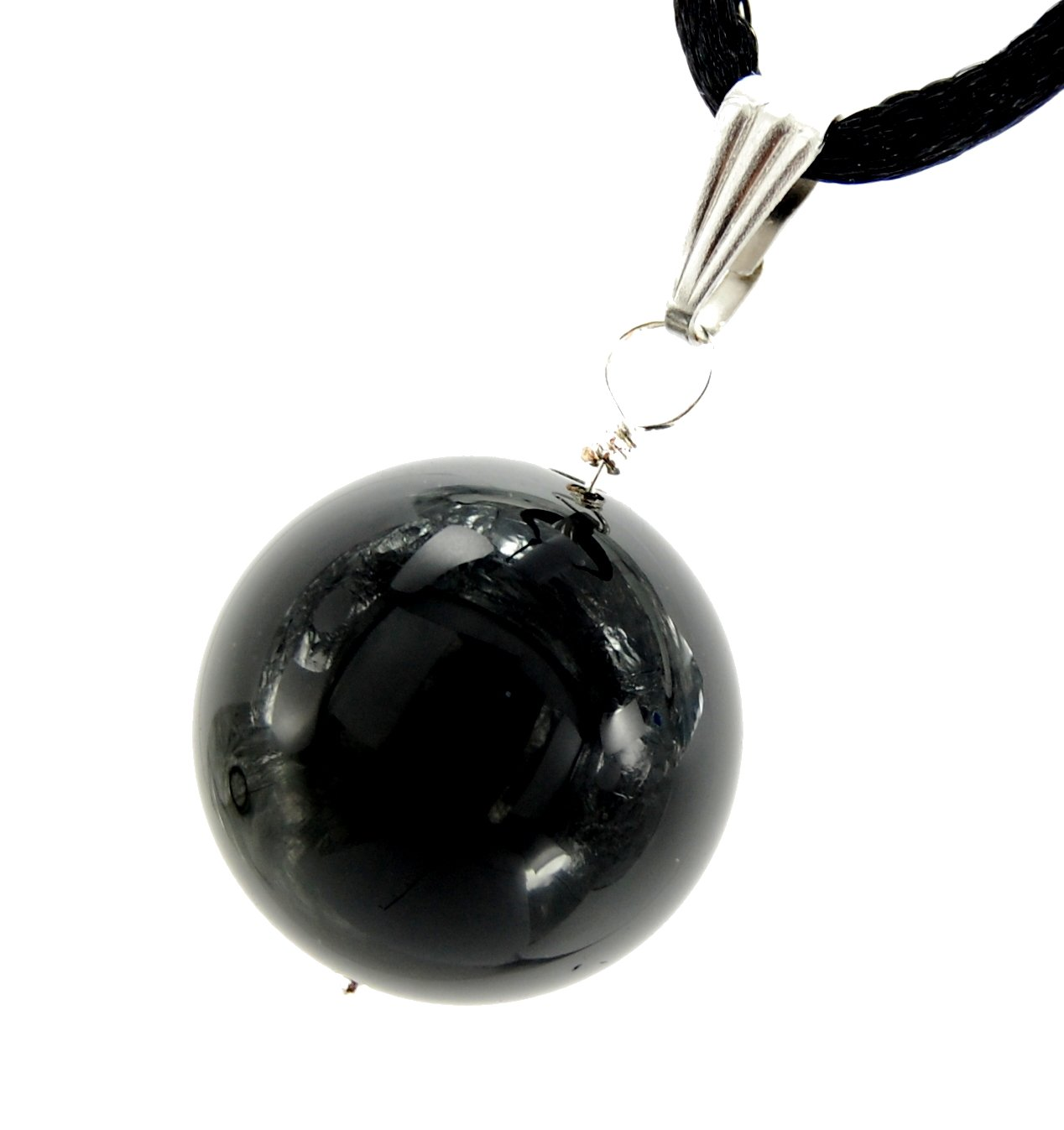 Steampunkers USA Celestial Collection - 15mm Moon Sphere Ball Obsidian Black, 20'' Adjustable Soft Black Poly Woven Washable Cord Stainless Bail – Natural Crystal Gemstone Carved Necklace Charm