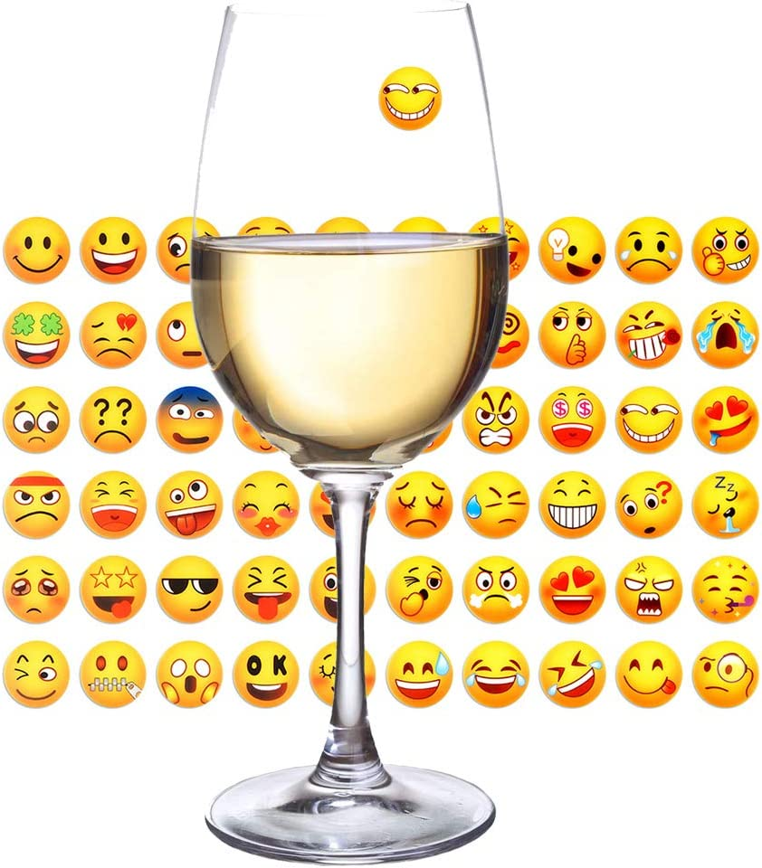 Wine Glass Markers 60pcs Funny Emoji Icons Stickers Decorative Wine Glasses Tags Wine Charm Drink Marker, Wine Accessories Gift, Personalized Your Drink, Reusable