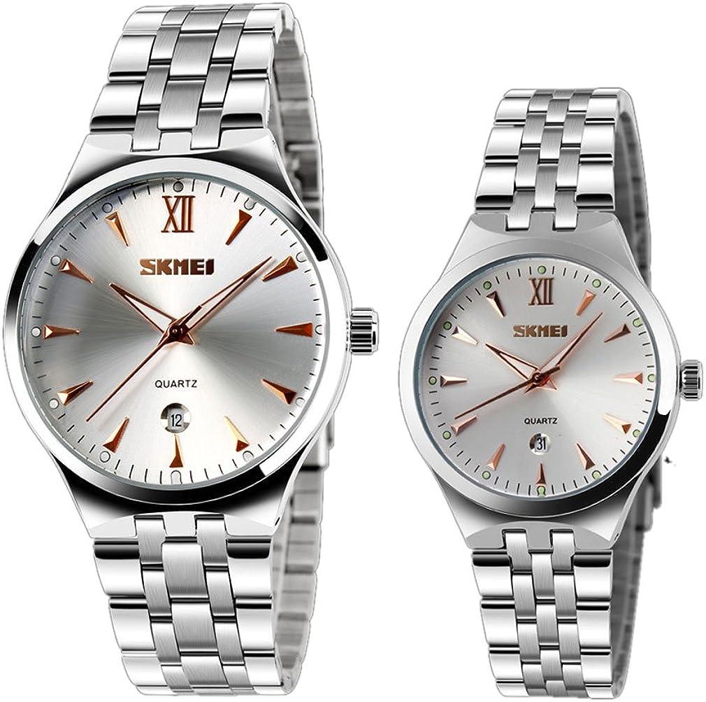 Cool de los hombres y las mujeres de cuarzo reloj de pulsera única con luminoso azul marcadores FECHA par reloj (Juego de 2)