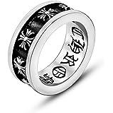 ZAKAKA 指輪 メンズ クロムハーツ風 リング ファッション アクセサリー (シルバー色, 16)