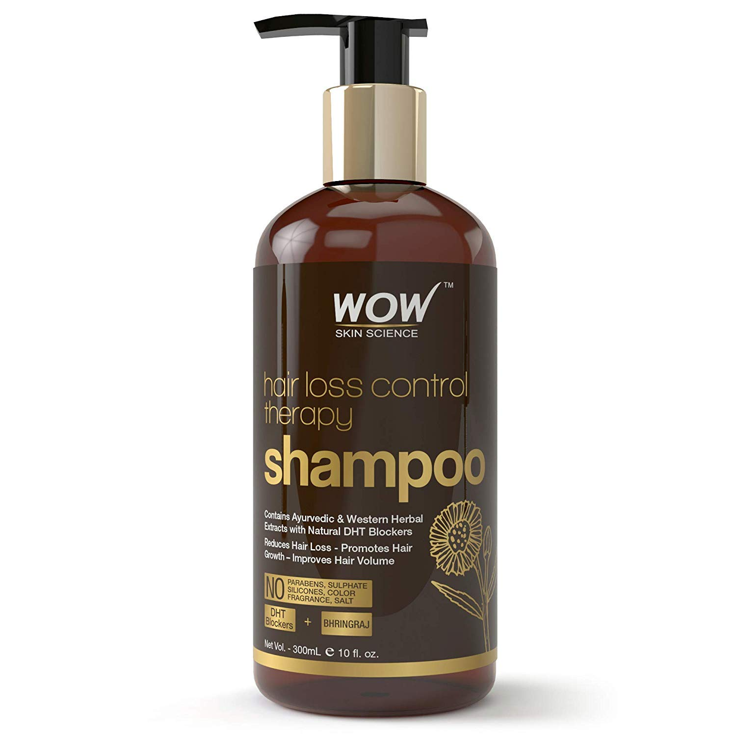 WOW Skin Science Hair Loss Control Therapy Shampoo - Increase Thick & Healthy Hair Growth - Contains Ayuvedic & Western Herbal Extracts with Natural DHT Blockers - For All Hair Types - 300 mL by WOW