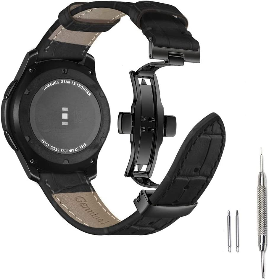 Aottom para Correa Gear S3 Frontier Piel,Correas Samsung Galaxy Watch 46mm Cuero con Butterfly Hebilla de Acero Inoxidable,Correa 22mm Gear S3 Classic Pulseras de Repuesto para Galaxy Watch 46 mm/s3: Amazon.es: Electrónica