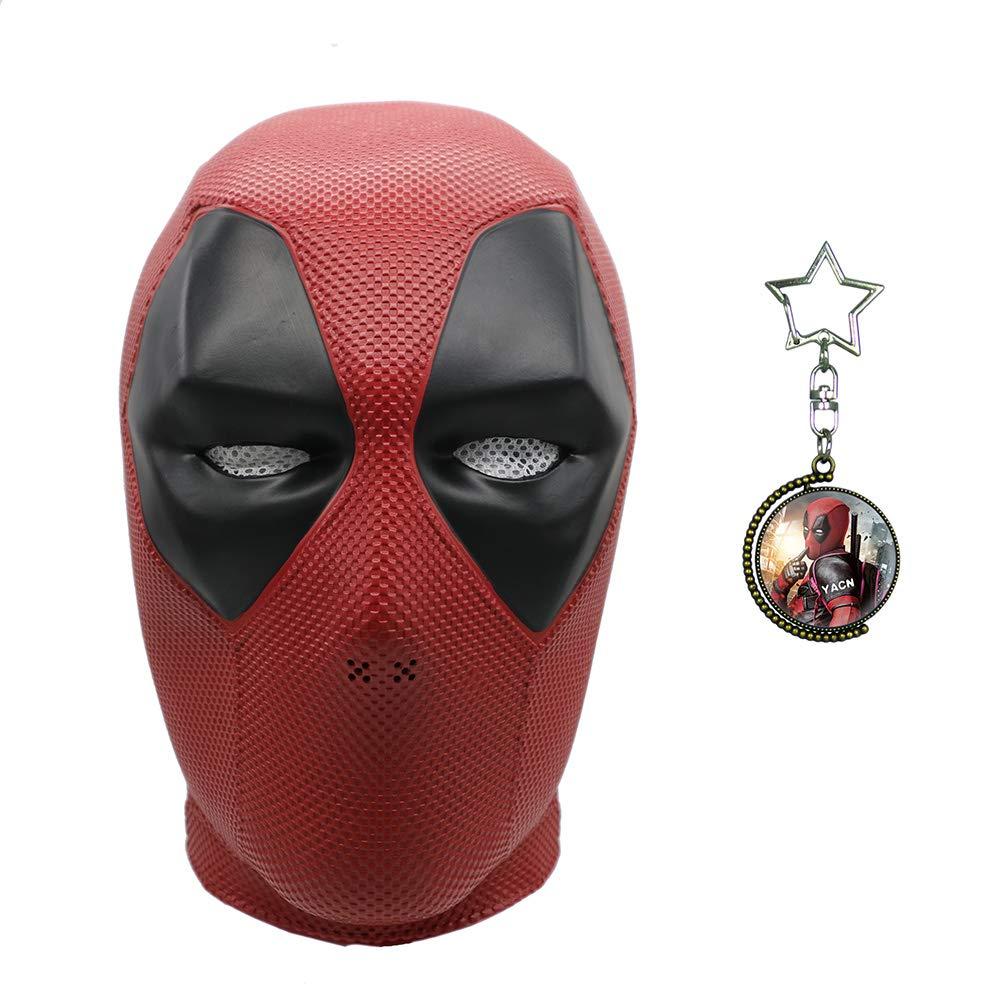Yacn Deadpool-Maske und Deadpool Doppelseitige rotierende rotierende rotierende Zeit Edelstein Halskette Anhänger-Set, Kostüm Kostüm, Film DP Cosplay Kostüm Replik Maske für Halloween-Party 16009b
