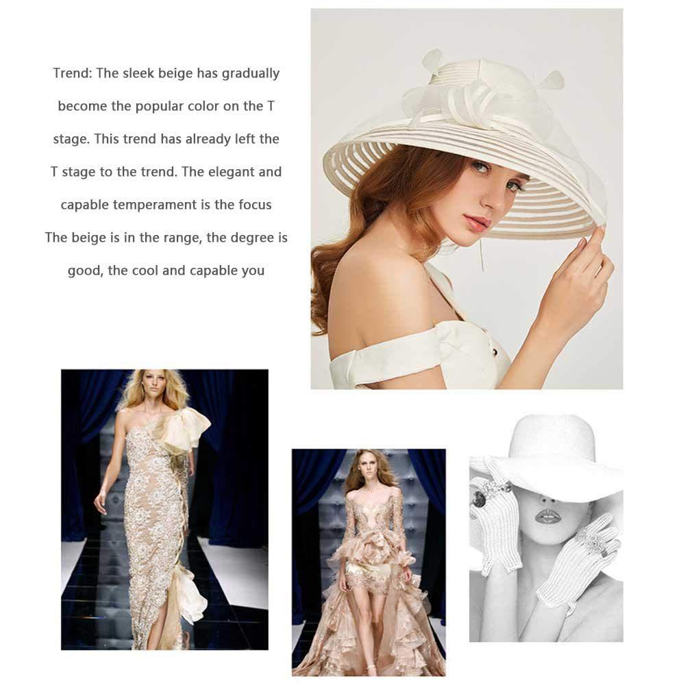 bodas con volantes y ala ancha azul azul Hamkaw Sombrero de organza plegable para mujer ideal para fiestas de t/é
