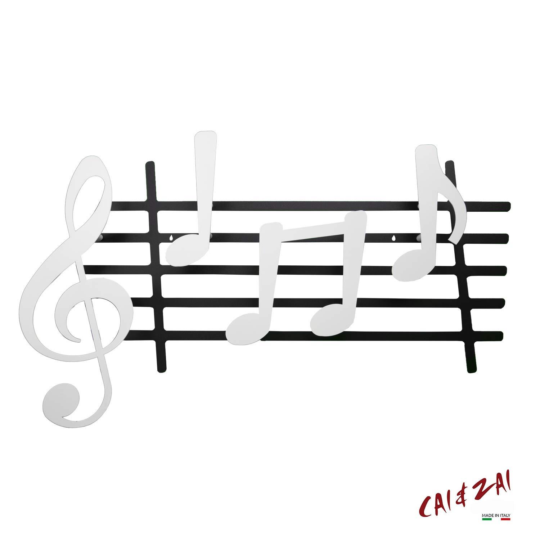 CAI /& ZAI-Appendiabiti-Note-Made in Italy-Design-Moderno-Acciaio-Arredamento-Ingresso- Bianco-Nero
