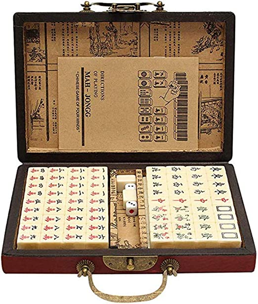 AIBAB Juego Portátil De Juegos Mahjong Juegos De Mesa Chinos + Estuche Vintage De Cuero Mahjong + Manual De Inglés: Amazon.es: Hogar
