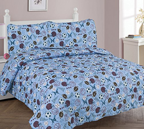 MB Home Collection Full Size 3 Pcs Light Blue Basketball Baseball Soccer and Brown Football Design Bedspread with Pillow sham # Full 3 Pcs MVP Quilt by MB Home Linen