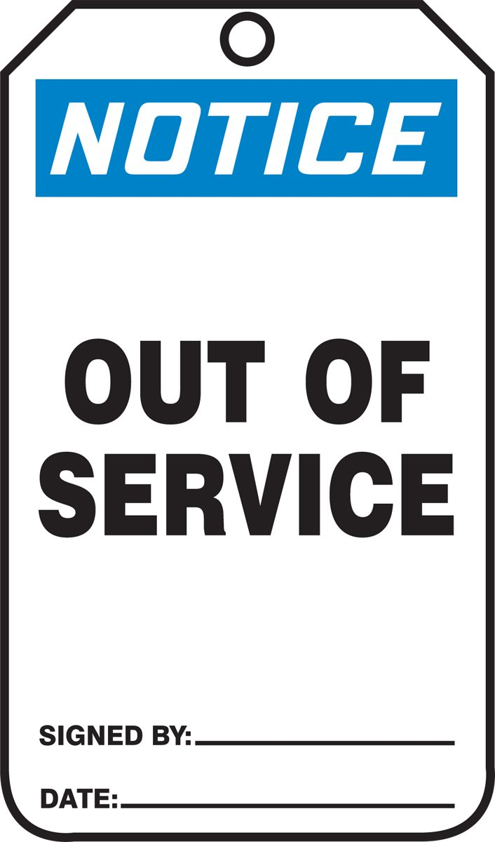 Accuform MDT801PTP RP-Plastic SAFETY Tag, Legend''Notice Out of Service'', 5.75'' Length x 3.25'' Width x 0.015'' Thickness, Blue/Black on White (Pack of 25)