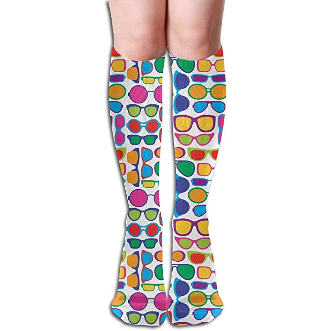 163b4f27a Amazon.com  CMEY Colorful Eye Glasses Tube Stockings Knee High Socks For  Teen Girl   Women  Clothing