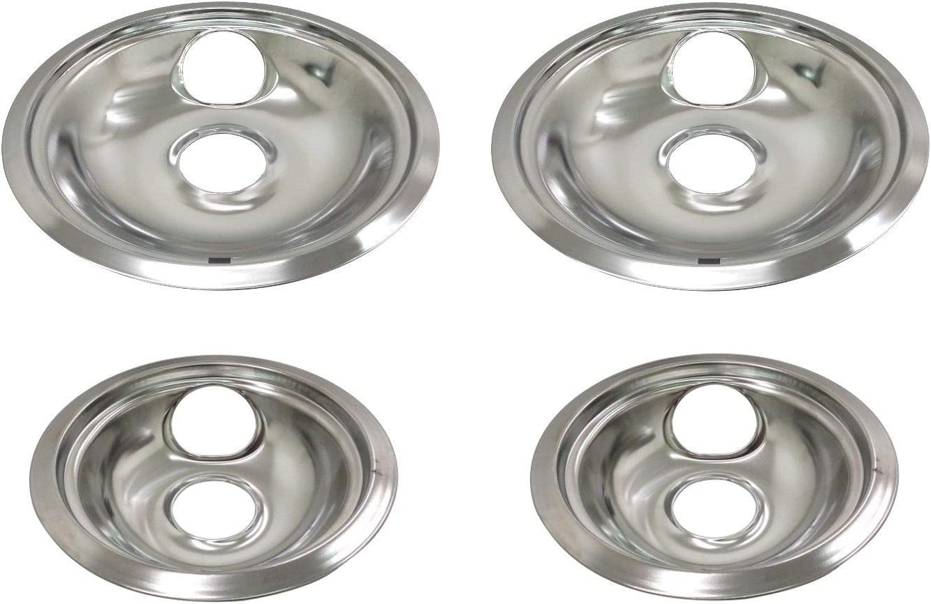 """Chrome Drip Pan Bowl Set Replacement for Whirlpool W10278125 Two 6/"""" and Two 8/"""""""