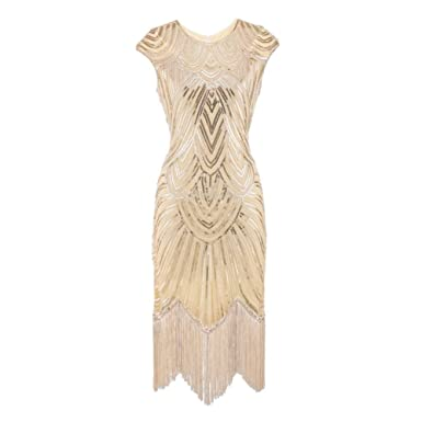 UPXIANG Womens Cocktail Wedding Gowns Embellished Dress Tassel Prom Dresses - Handmade Beaded Sequin Decor,