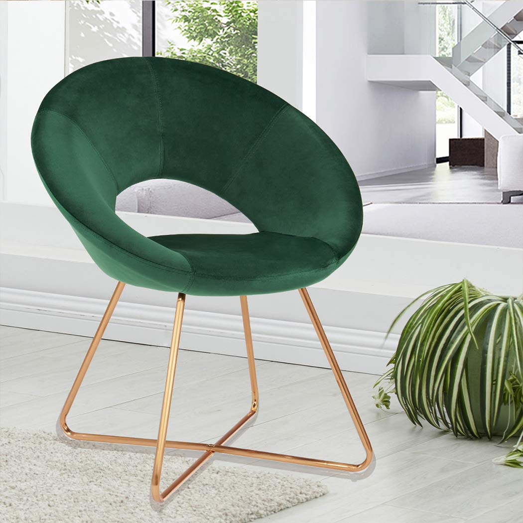 Duhome Dining Chair Chair Mid-Century Modern Upholstered Leisure Club Velvet Cushion for Living Room Bedroom Reception Area Dark Green 1pcs
