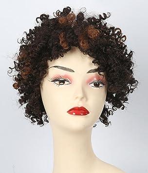 AN-LKYIQI Negro rizadas pelucas para mujeres barato sintético rizado peluca rizada Reino Unido largo