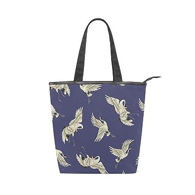 515ae12b8957 IMOBABY Japanese Crane Canvas Shopping Tote Bag Large Size Zippered ...