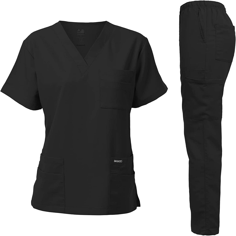 Dagacci Medical Uniform Unisex Women and Men's V-Neck Super Stretch Scrub Set