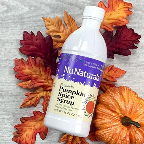- NuNaturals NuStevia Sugar-Free Pumpkin Spice Syrup Natural Stevia Sweetener with 0 Calories, 0 Sugar, 0 Carbs (16 oz)
