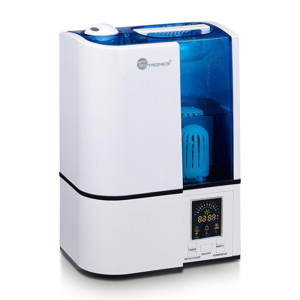 TaoTronics Cool Mist Humidifier, LED Display, 4L Ultrasonic Humidifiers Home Bedroom Filter, Adjustable Mist Levels, Timer, Waterless Auto Shut-Off - 4L/1.06 Gallon, 110V