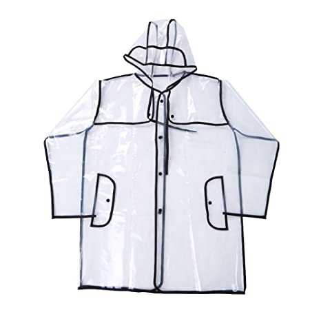 Victory-eu Raincoat Transparent Clear PVC Raincoat Summer Raincoat Fashion Raincoat Waterproof Jacket Poncho Free Size,Perfect for Hiking Camping