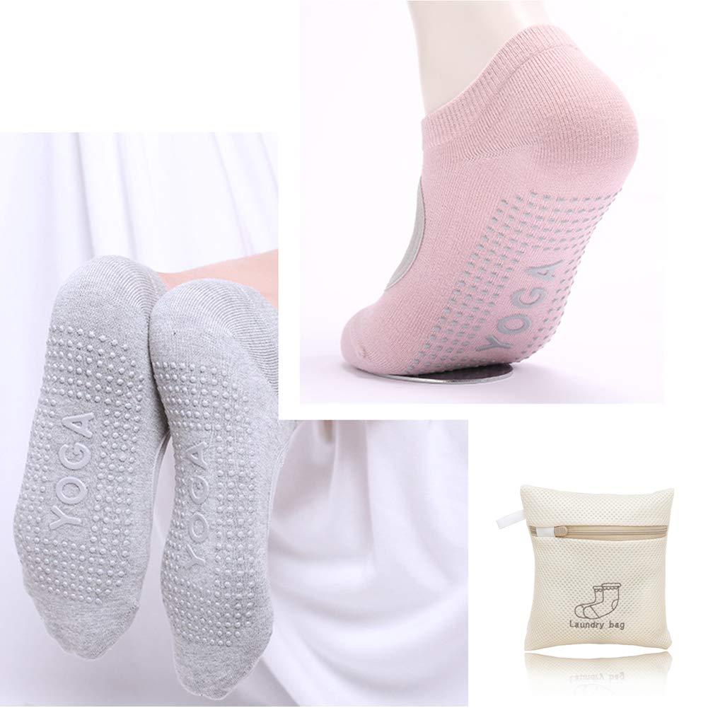 HAOYUNTE Pilates Yoga Socks Grippy Socks-Womens Barre Nonskid Backless Socks,Pack of 3