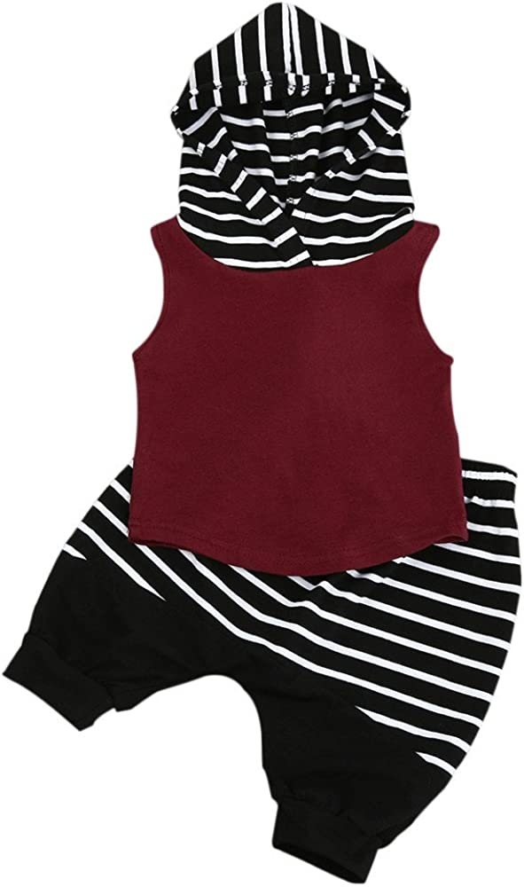 Zerototens Toddler Baby Boy Summer Clothing Sets for 0-3 Years Old Kids The Boy Sleeveless Red Stripe Hooded Coat Pants and Short Pants Clothing Suit Casual Sportwear