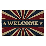 Entryways Patriotic Welcome, Non- Slip Coconut Fiber Doormat 17'' X 28'' X .5''