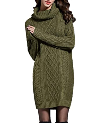 259106b895a Sorrica Women s Turtleneck Cable Knit Long Sleeve Tunic Pullover Sweater  Dress Top (Army Green