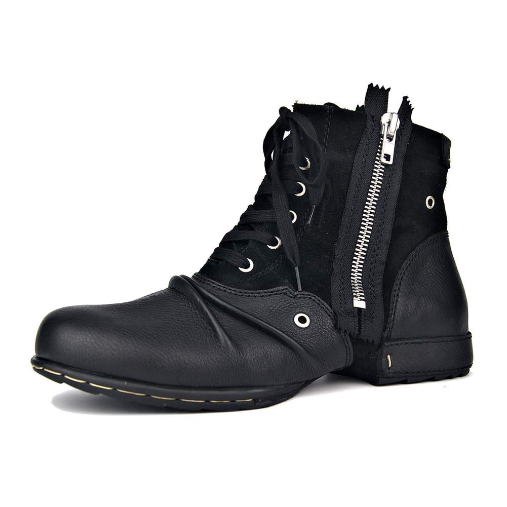 メンズアンクルブーツ、ジッパー付きスタイリッシュな防水登山靴、革裏地のオックスフォード靴、トレッキング用半長靴 ブラック EU44