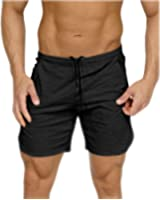 Men's Gym Workout Shorts Running Short Pants Fitted Training Bodybuilding Jogger With Zipper Pockets 3 Colors