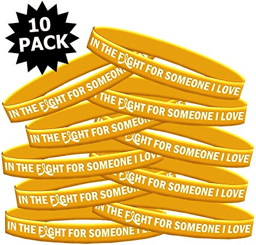 Pediatric Silicone - In The Fight For Someone I Love Childhood Cancer Neuroblastoma COPD Wristband Bracelet 10-Pack (Gold)