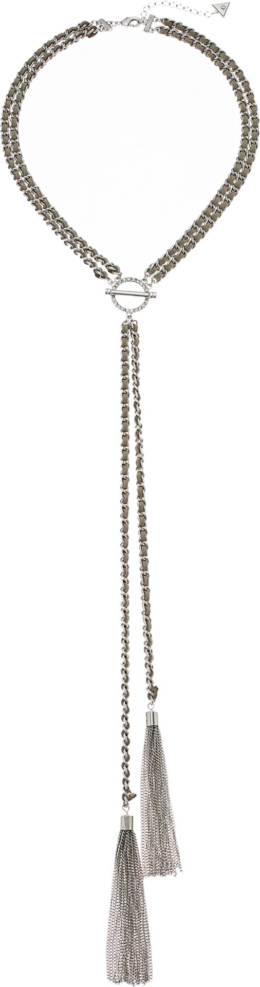GUESS Nude Metals Women's Lariet Y Shaped Necklace, Silver, One Size