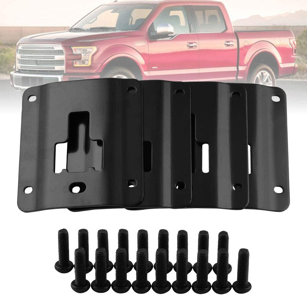 Compatible with Ford F150 F250 F350 /& Raptor 2015-2019 Truck Bed Cargo Tie Down Brackets 4 Plates w//Extra Anti-Theft Screws