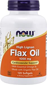 NOW Supplements, Flax Oil 1000 mg made with Organic Flax Oil, High Lignan, 120 Softgels