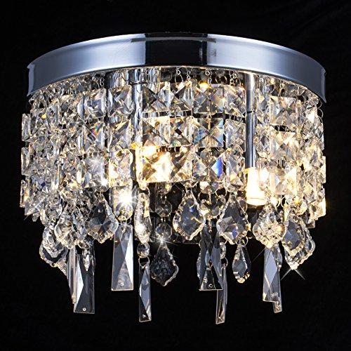 - Crystal Chandelier Lamp, Modern Flush Mount Ceiling Light, Pendant Ceiling Lamp For Banquet Hall, Hotel Lobby, Restaurant, Hallway, Bar, Dining Room, Bedroom, Stairwells, W9.8