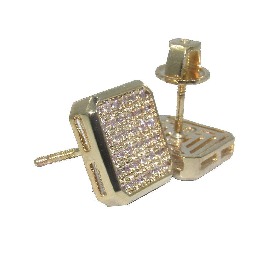 14k Gold Overlay OTC-342 925 Lab Micro Pave 12mm Earrings w//Screw on Backs